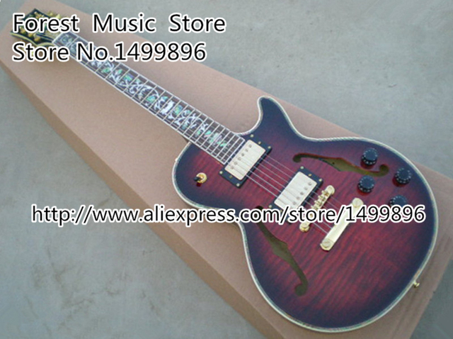 Cheap Chinese Musical Instruments Tiger Grain Hollow Body Custom Electric Guitar Lefty Available