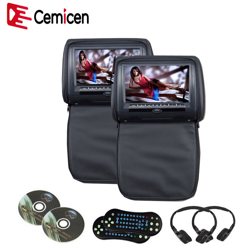 Cemicen 2PCS 9 Inch Car Headrest DVD Player Monitor Digital Screen with USB SD IR FM