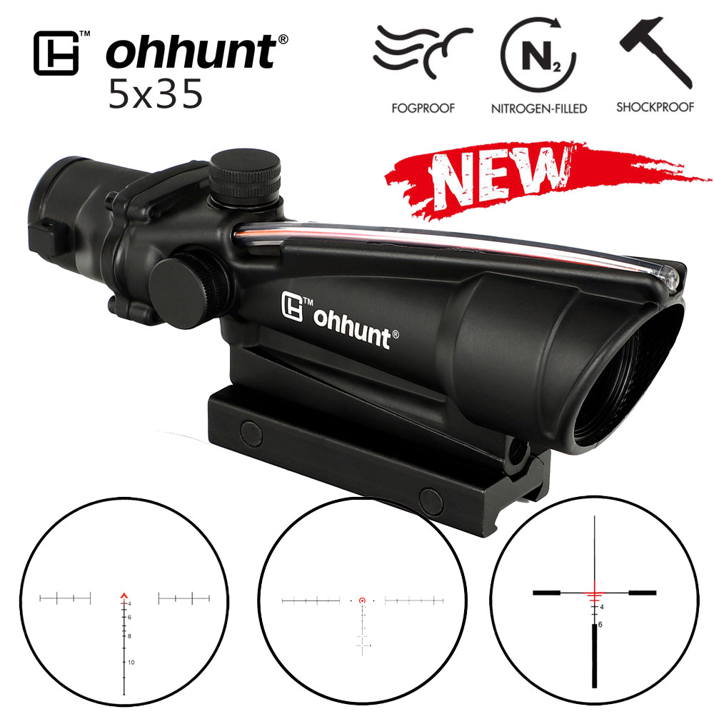 ohhunt 5x35 ACOG Style Tactical Rifle Scope Real Fiber Red or Green Glass Etched Reticle Optics