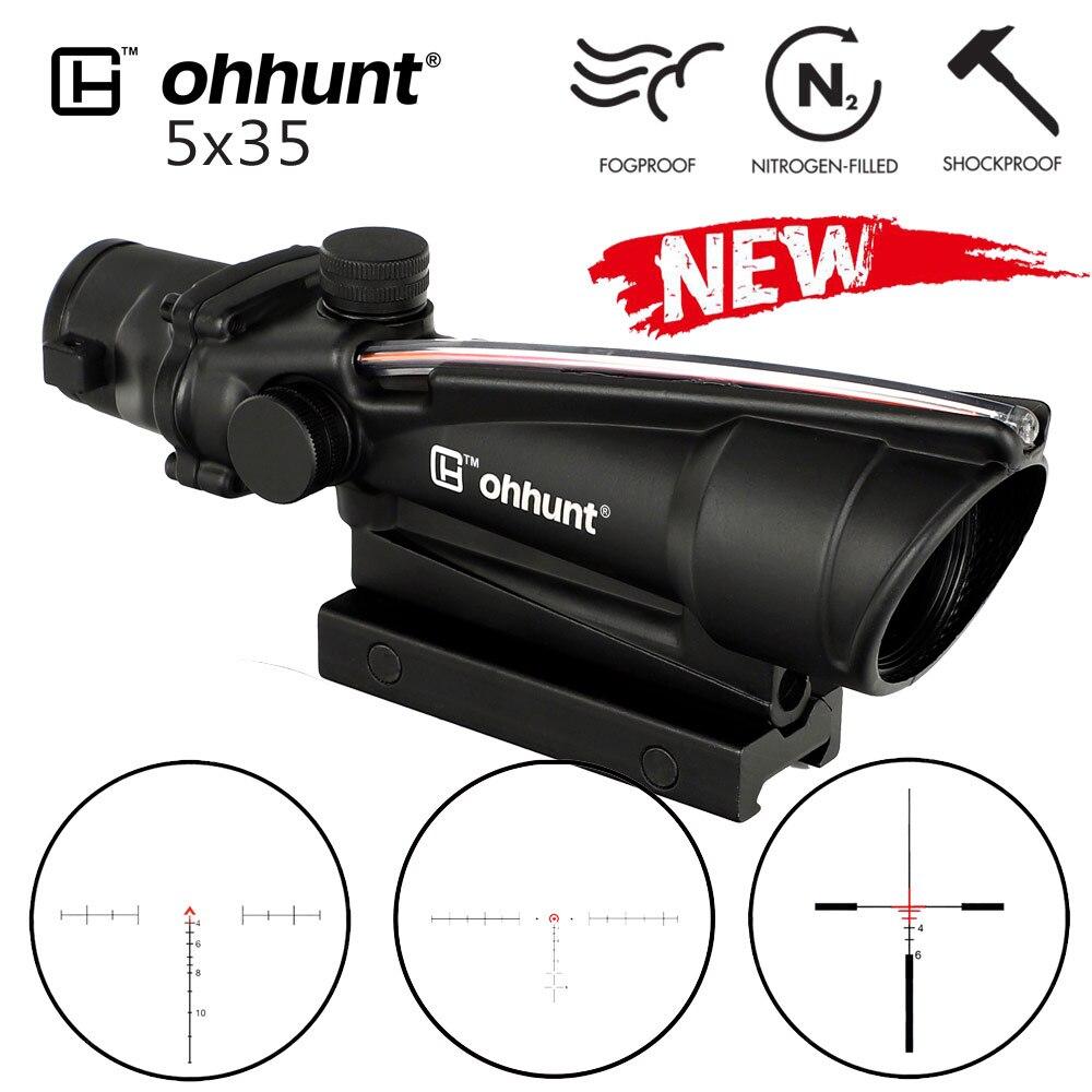 Ohhunt 5x35 ACOG Estilo Rifle Tático Âmbito Real Fibra Óptica de Vidro Gravado Retículo Vermelho ou Verde Sights Caça rifleScopes