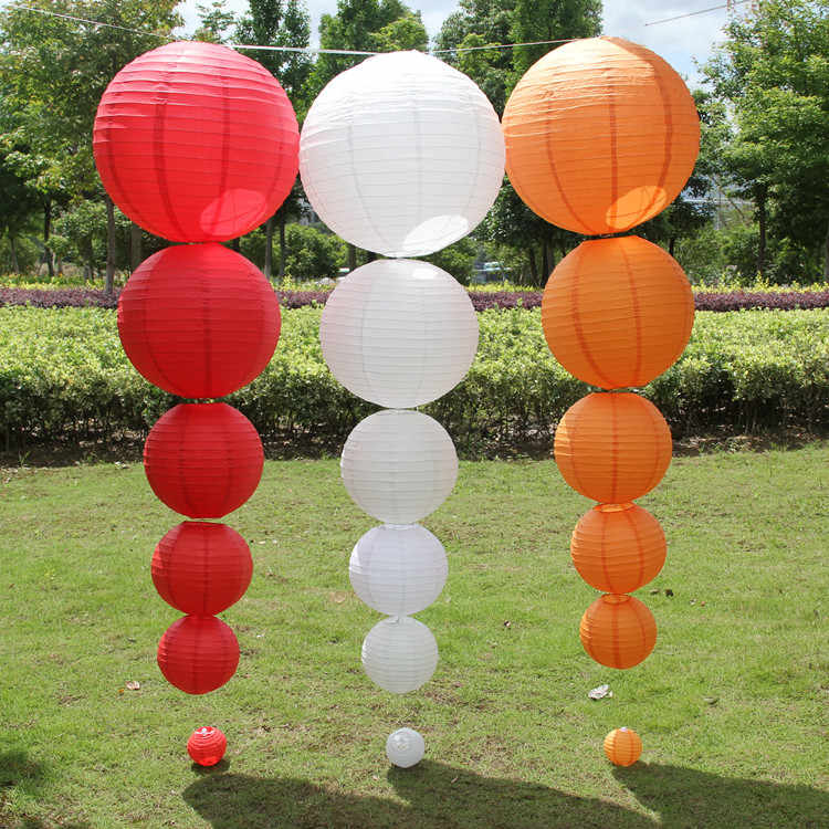 "4"" 6"" 8"" 10"" 12"" 14"" 16"" Chinese Round Paper Lanterns White red Hanging Lampion Wishing Paper Lamp Wedding room party decoration"