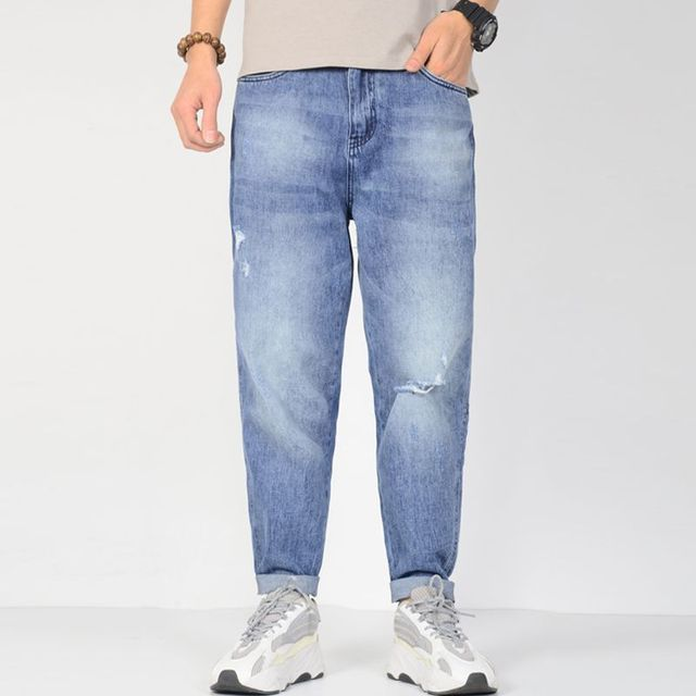 Men Light blue Jeans Plus Size Baggy Harem Ripped Jeans Side Tapered Stretch Relax Hip Hop Loose designer jeans