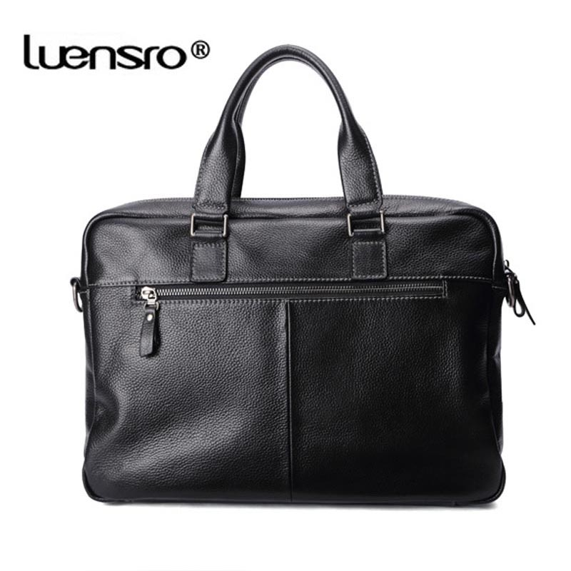 Image 4 - LUENSRO 100% Genuine Leather Briefcase Men Bag Business Handbag Male Laptop Shoulder Bags Tote Natural Skin Men Briefcase-in Briefcases from Luggage & Bags