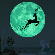 Christmas 3D Luminous Moon Deer Wall Sticker For Kids Rooms Glow In The Dark Bed Gift Wholesale&Dropshipping#30(China)