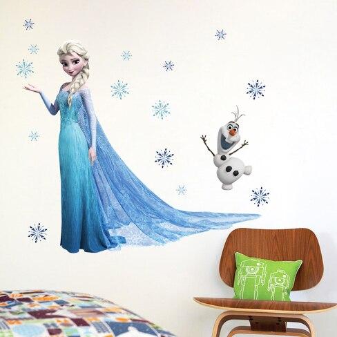 Пвх мультфильм эльза снежная королева стены стикеры девушки украшения дома стен для детей номеров плакат обои дети