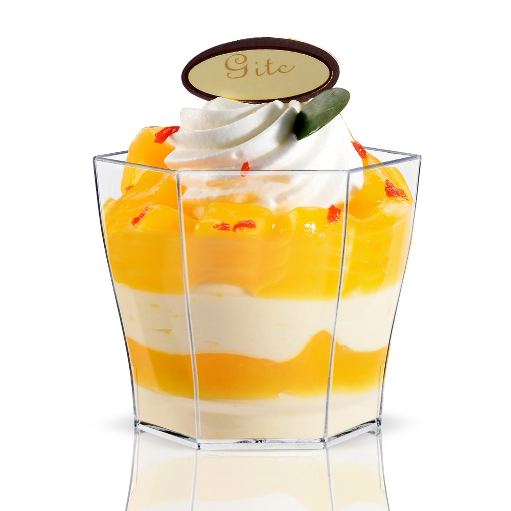 Promotion - Party Suppliers, Disposable Plastic Tableware, 55*45mm/60ml Transparent Mini Hexagon Glass Dessert Cup, 20/Pack