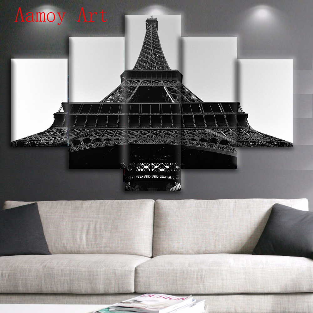 5 Piece Wall Art Paris Black White Eiffel Tower Picture For Living Room Print Painting On Canvas Home Decor In Calligraphy From