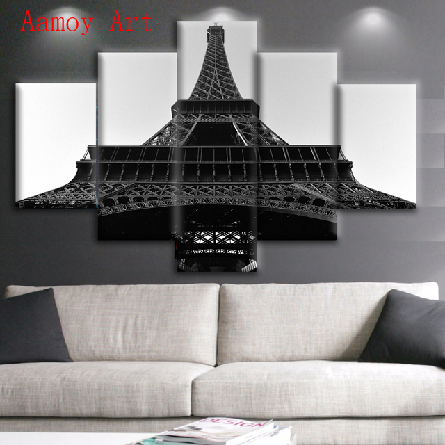 5 Piece Wall Art Paris Black White Eiffel Tower Wall Picture For Living  Room Print Painting