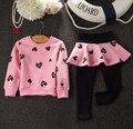 2016 Coelho Conjunto Bebê Menina minnie roupa dos miúdos conjuntos de roupas meninas do bebê Do Coração da menina t-shirt + skirtpants 2 pcs conjunto