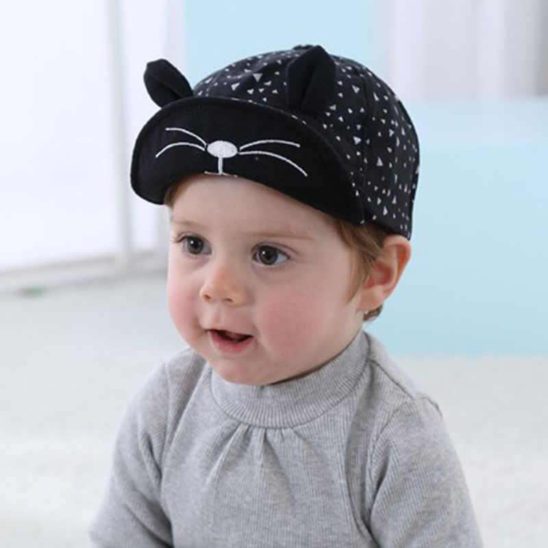 9747049a ... Fashion Korean Kid Baseball Cap Cotton Cute Cat Hat Newborn Infant Caps  Soft Brim Boy Girl ...