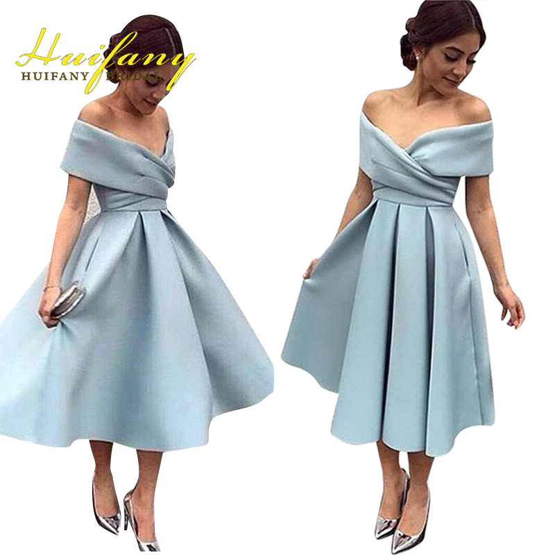 Buy elegant satin off the shoulder tea for Simple elegant short wedding dresses