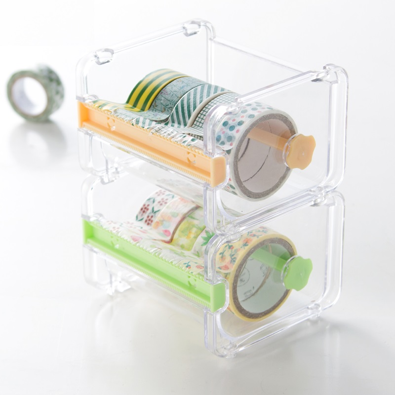 Creative Washi Tape Cutter Set Tape Tool Transparent Tape Holder Tape Dispenser School Supplies Office Stationery