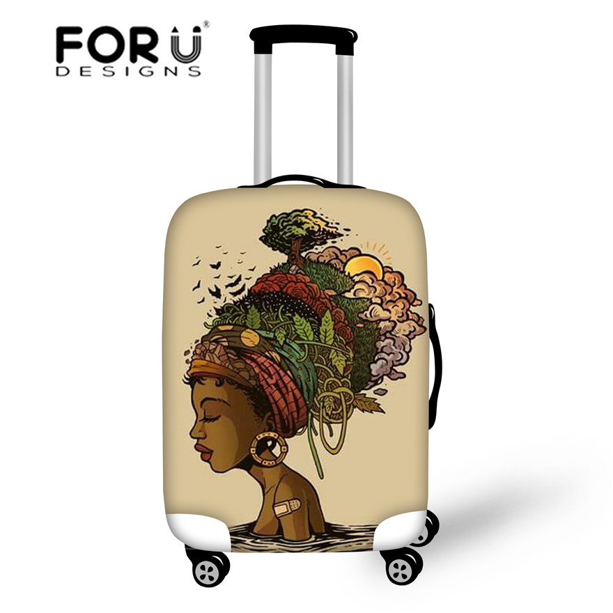 FORUDESIGNS Travel Accessories Women Black Queen African Girls Printing Luggage Cases For Dust-proof Suitcases Cover Protective