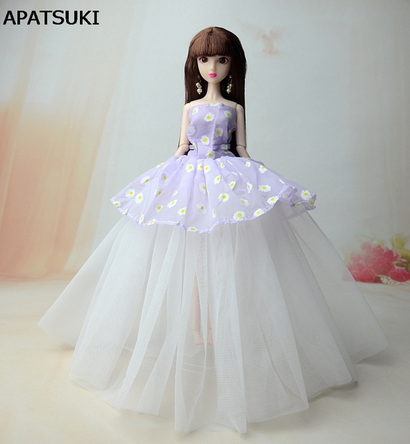 Purple White Flower Doll Dresses Sexual Evening Gown Lace Wedding ...
