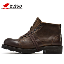 2018 Motorcycle Boots Mens Genuine Leather Ankle Breathable Work Cowboy Botas 15D50