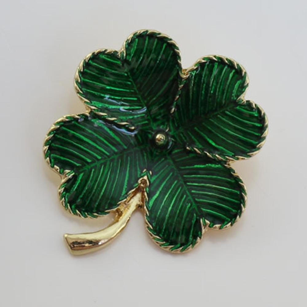 imixlot Green Enamel Flower Tree Brooches Four Leaves Clover Pin Womens Garment Accessories Brooch Jewelry
