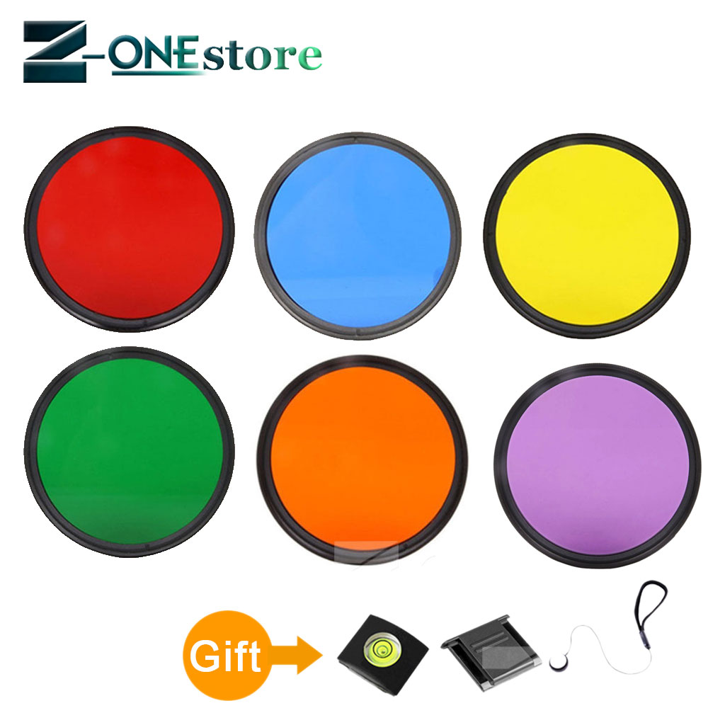 Full Color lens Filter 37 40.5 46 <font><b>49</b></font> <font><b>52</b></font> <font><b>55</b></font> <font><b>58</b></font> <font><b>62</b></font> <font><b>67</b></font> <font><b>72</b></font> <font><b>77</b></font> <font><b>82</b></font> mm Red Blue Green Purple Yellew Orange for Canon Nikon Sony camera image