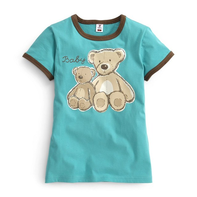VANCL Women Family Fashion Set Mother Family Edition Teddy Bear Tee 100% Cotton Short Sleeve T-shirt Turquoise FREE SHIPPING