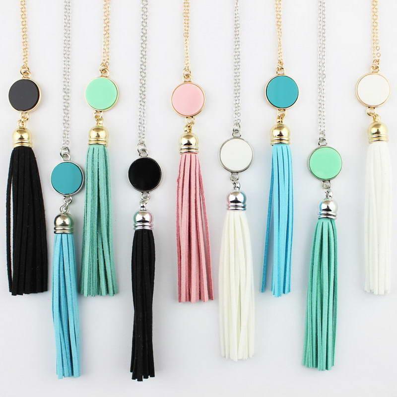 Monogramm Acryl Blank Disc Lange Kette Anhänger BOHO Quaste Halskette für Frauen Benutzerdefinierte Personalisierte Anhänger Halskette Acryl Blank