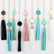 Monogram Acrylic Blank Disc Long Chain Pendant BOHO Tassel Necklace for Women Custom Personalized Pendant Necklace Acrylic Blank