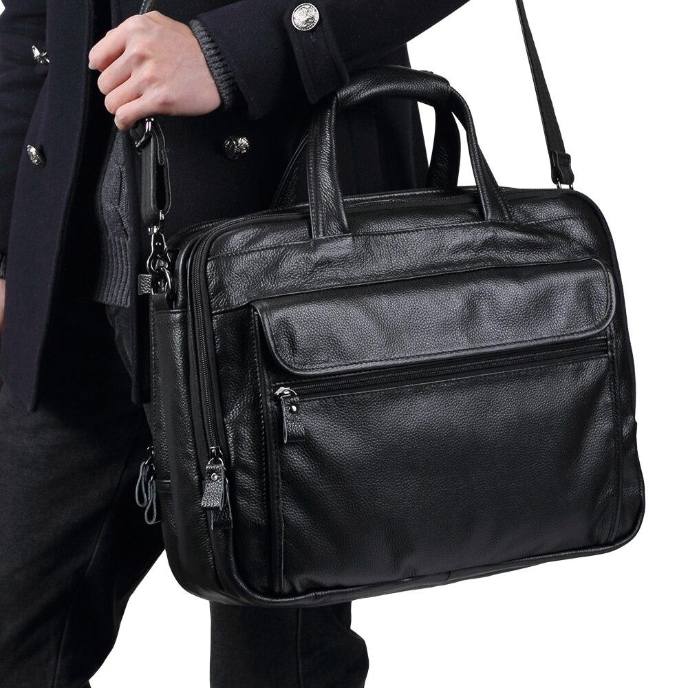 "JOYIR Men Briefcases Genuine Leather Handbag 15""Laptop Briefcase Messenger Shoulder Crossbody Bag Men's Bag Business Portfolio"