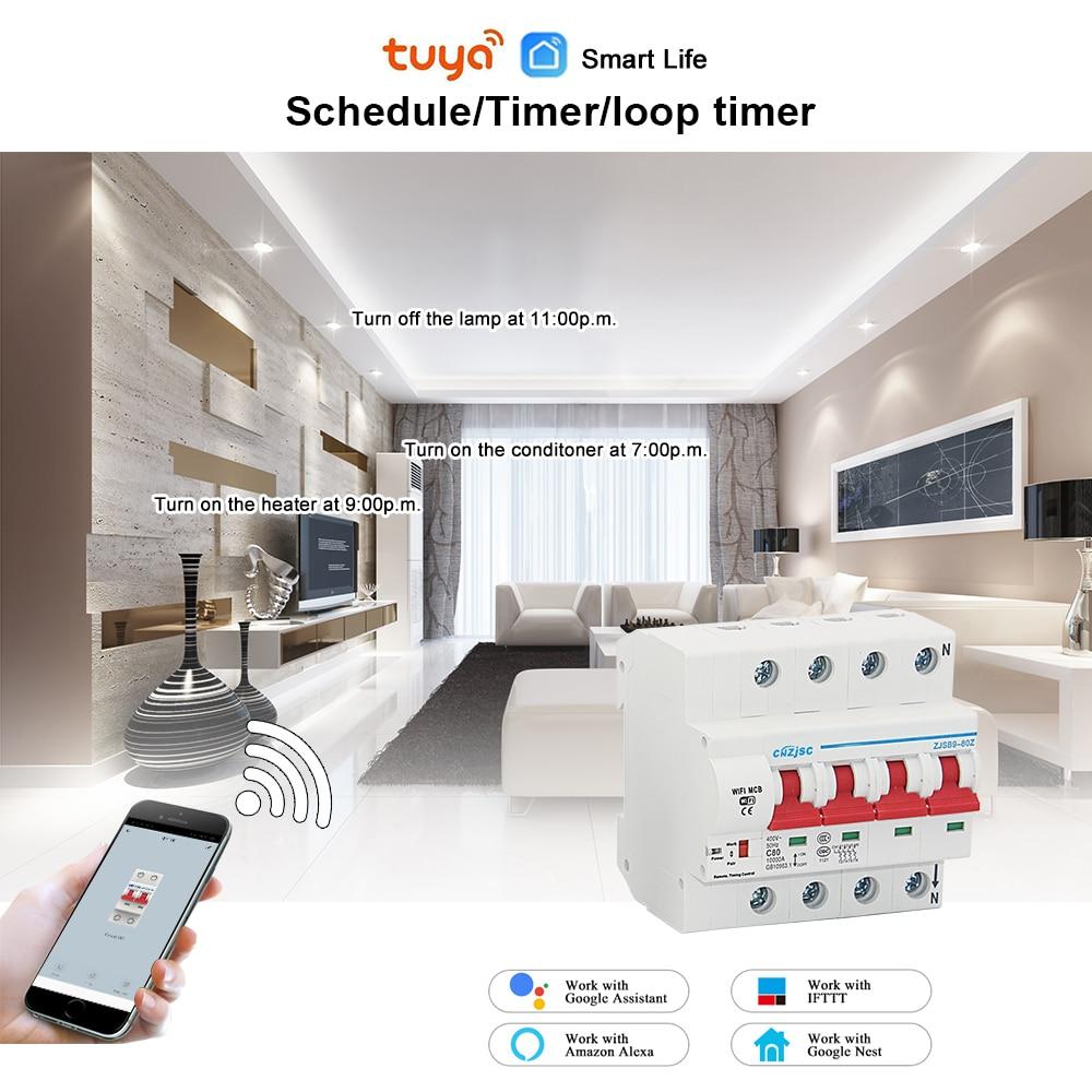 Protection intelligente de court-Circuit de surcharge de disjoncteur de la vie 4P WiFi de 220V avec Amazon Alexa pour la maison intelligente