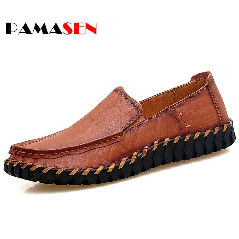 PAMASEN Big Size 38-47 Slip On Casual Men Loafers Handmade Spring Autumn Mens moccasins Shoes Genuine Leather Men's Flats Shoes dxkzmcm new men flats cow genuine leather slip on casual shoes men loafers moccasins sapatos men oxfords