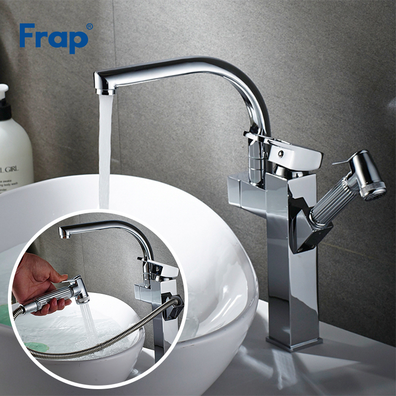 Frap Multifunctional Kitchen Faucet Double Spout Pull Out Mixer Single Hole Deck Mounted Sprayer Kitchen Tap