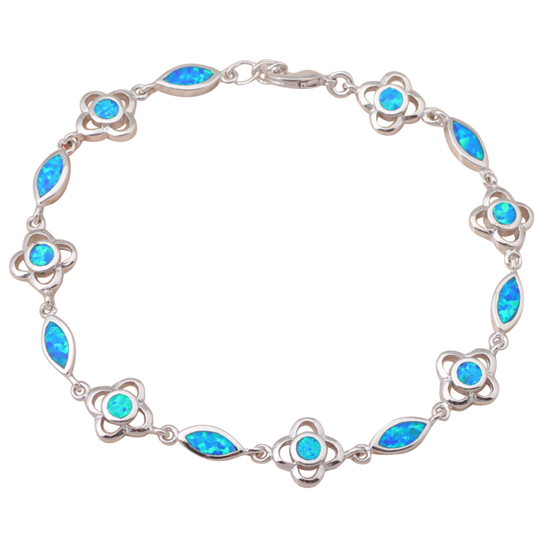 2081aa297 Top Popular da Senhora Atacado varejo & Blue Opal de fogo de prata  carimbada Pulseiras Moda Jóias Aniversário OB016