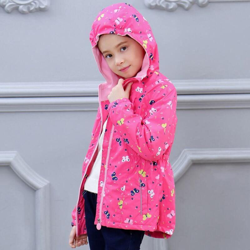 Spring Autumn Children Kids Jackets Coats Baby Girls Windproof Waterproof Jackets Girls Double-deck Polar Fleece Jackets Outwear