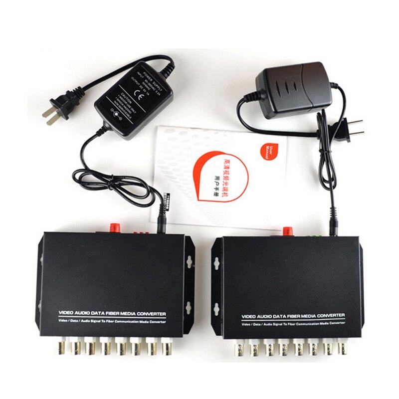8 Channel Digital Video Optical Fiber Media Converters Transmitter/Receiver For Security system CCTV Cameras