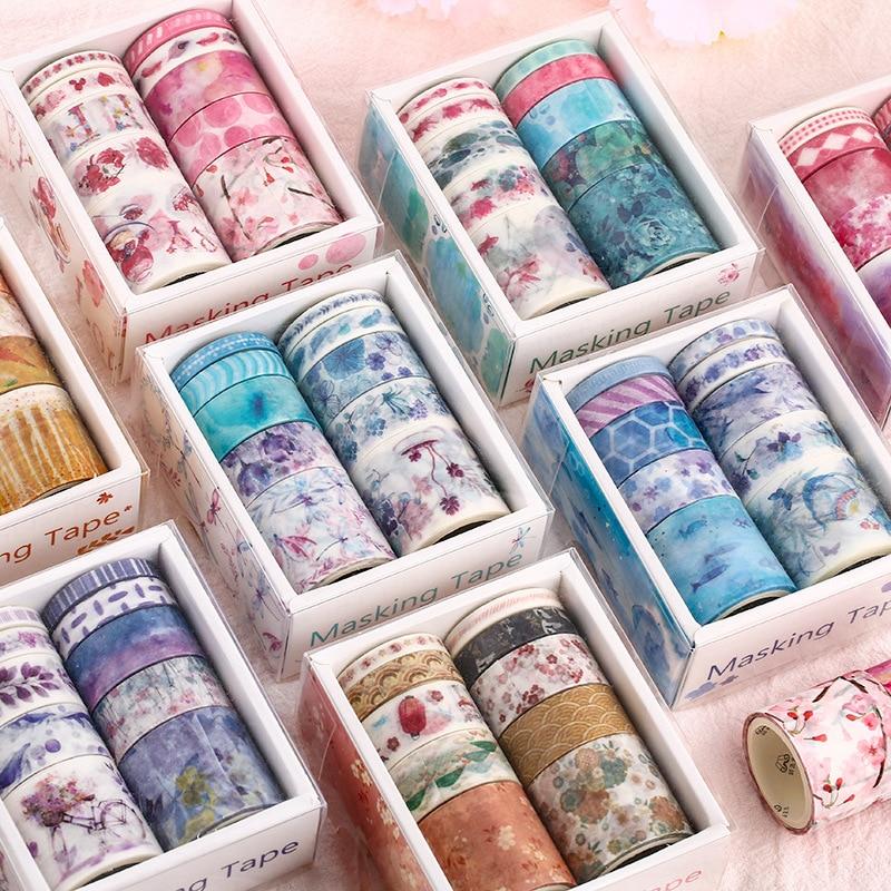10 Pcs Washi Tape Set Stickers Scrapbooking Masking Wash Tapes Washitape Ocean Fita Adesiva Cinta Adhesiva Decorativa Flower