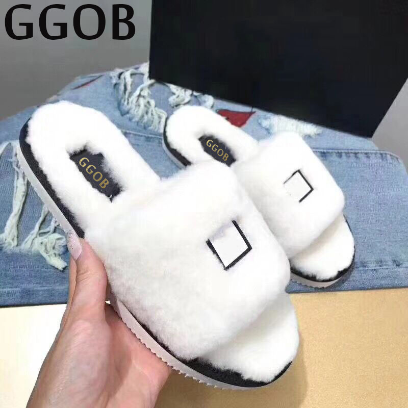 GGOB Womens Sandals Platform Casual Shoes Outdoor Walking Classics Fashion Element Hairy slippers Flat Sandals Ladies White ggob womens sandals platform casual shoes outdoor walking classics fashion element hairy slippers flat sandals ladies white