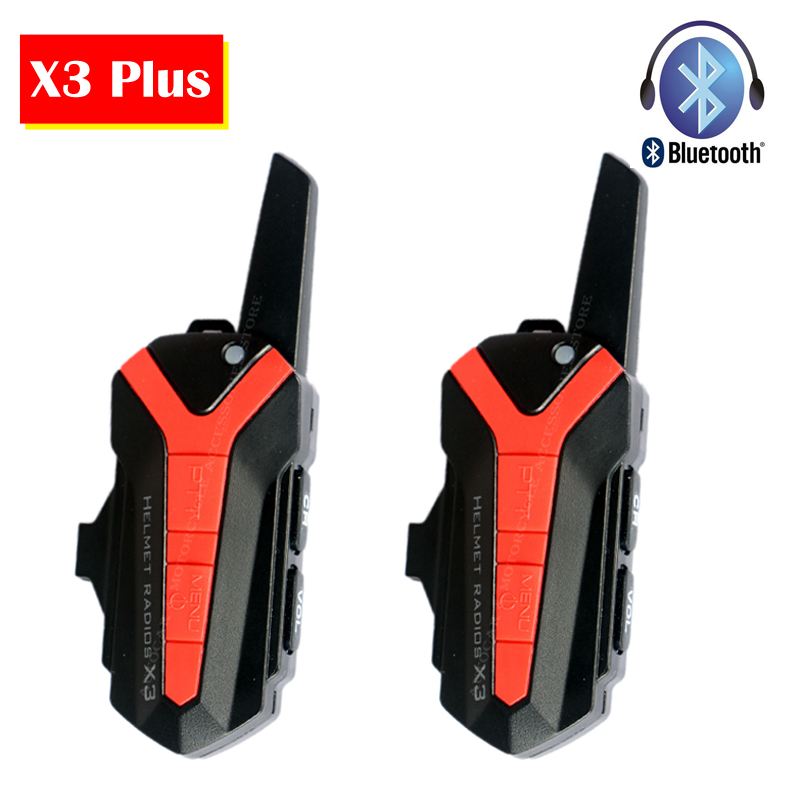 2pc X3 Plus Bluetooth Motorcycle Motorbike Helmet 1.5-3KM Intercom Interphone Headset IP54 Waterproof 16Channel Unlimited Number carchet 2x bt bluetooth motorcycle helmet inter phone intercom headset 1200m 6 rider motorbike headset handsfree call