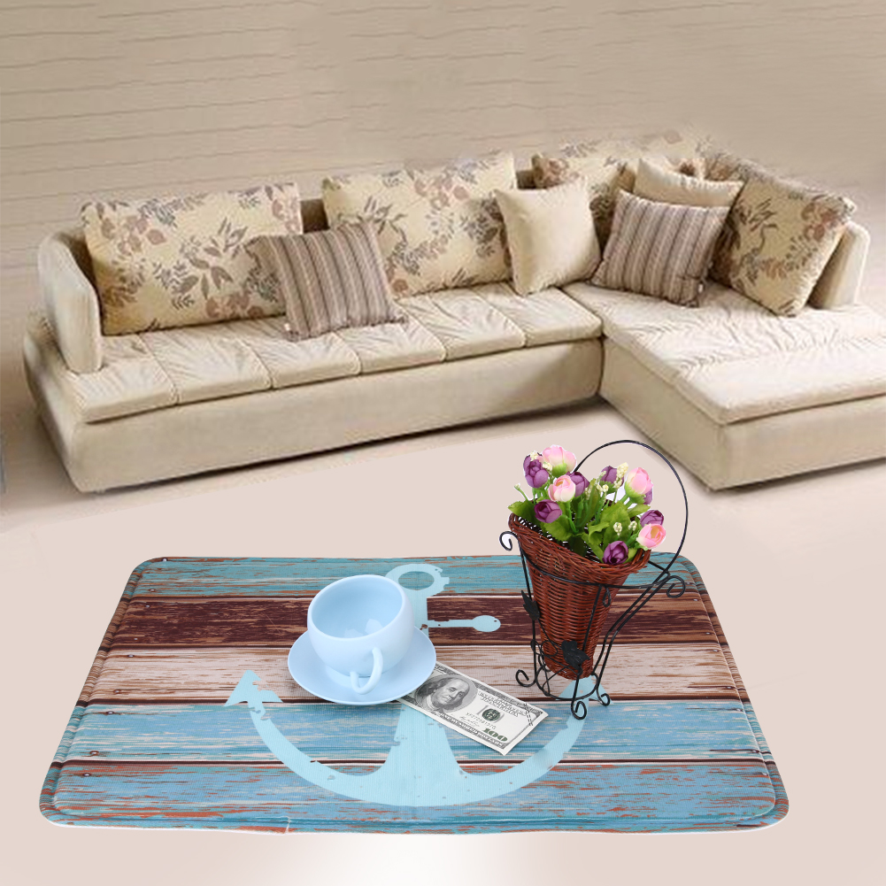 Ship Anchor Pattern Floor Mats Anti Slip Absorbent Printed Office Home Textile Rug