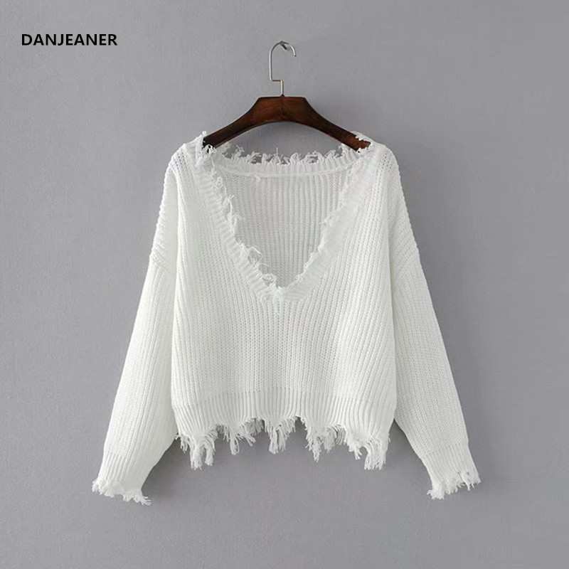 Danjeaner Tassel Deep V Knitted Pullover Female Autumn Winter White Long Sleeve Knit Crochet Sweater Women Cropped Jumper Pull