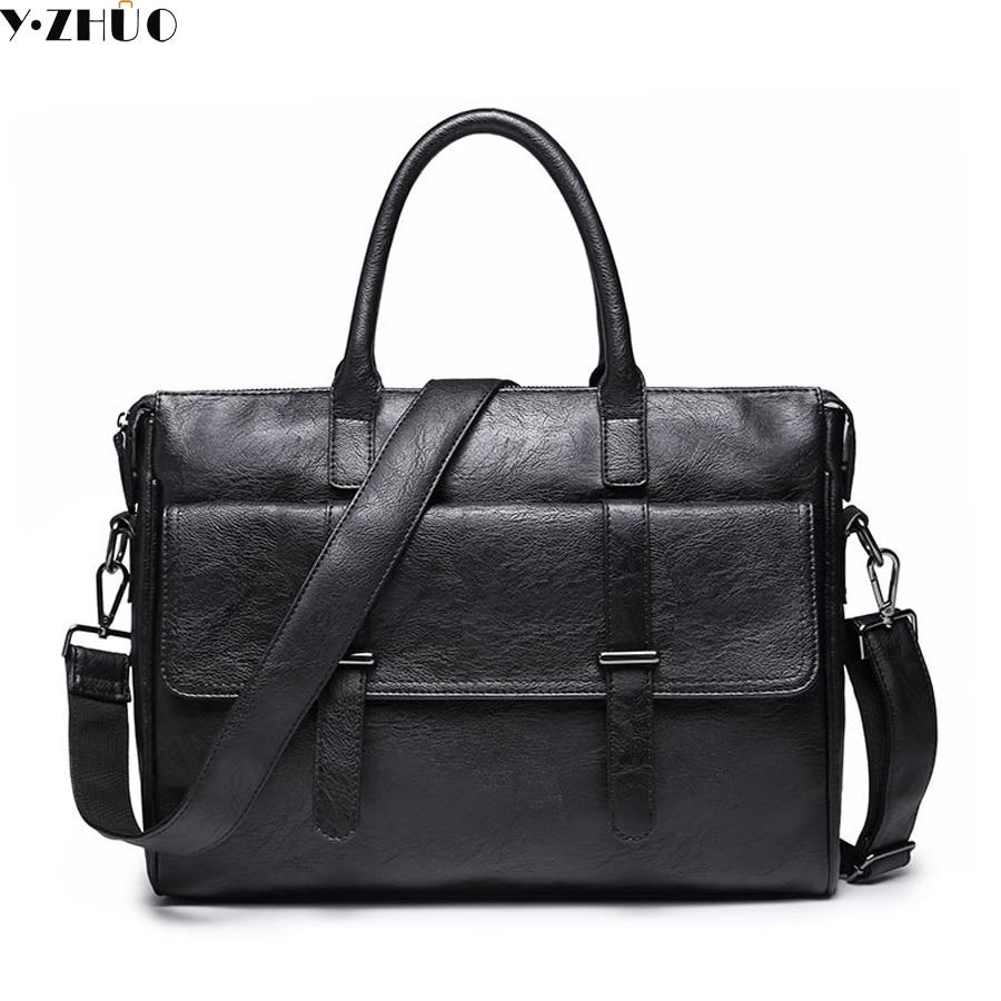 man handbag leather men crossbody bags vintage large men messenger bag brand tote shoulder Laptop bag men briefcase black