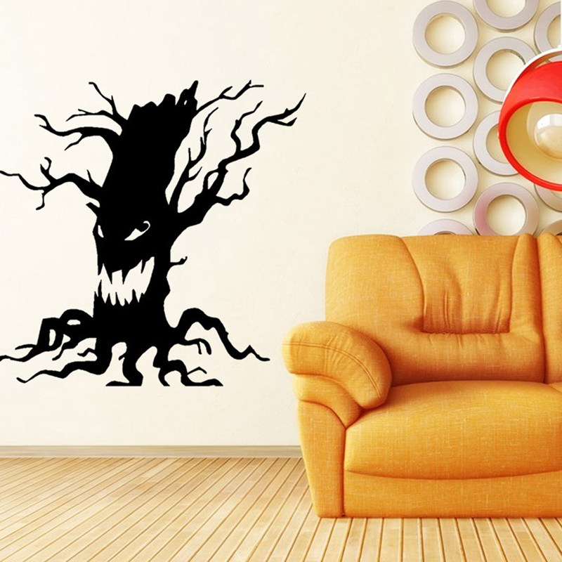 Halloween Black Scary Vinyl Tree Removable Art Wall Stickers ...