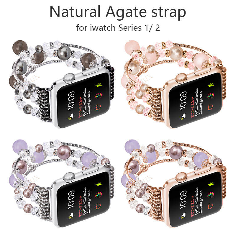 цены FOHUAS Highquality Natural Gray agate band for Apple watch Replacement wrist women's fashion Wrist Strap With Adapters 38MM 42MM