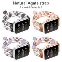 FOHUAS Highquality Natural Gray agate band for Apple watch Replacement wrist women's fashion Wrist Strap With Adapters 38MM 42MM