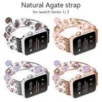 FOHUAS Highquality Natuurlijke Grijze agaat band voor Apple horloge Vervanging pols damesmode Polsband Met Adapters 38 MM 42 MM