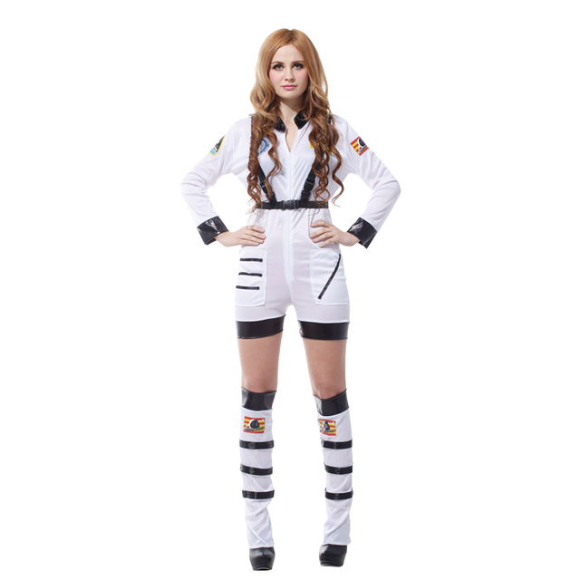Umorden Purim Carnival Party Halloween Costumes Sexy Astronaut Cosmic  Cosmonaut Costume Women Adult White Pilot Cosplay c2728e81b1cc