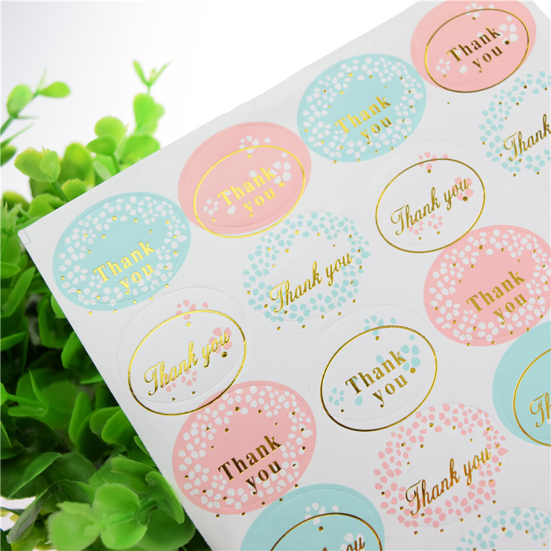 16pcs/sheet THANK YOU Pink Blue Sealing Stickers Labels Gold Silver Seals Gift Stickers Wedding Seals Packaging Wrapping Backing