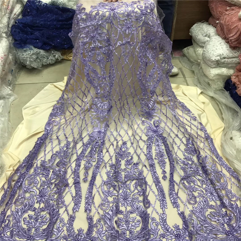 Nigerian Beaded Lace Fabric 2018 High Quality Lace Material Blue French Lace Fabric Nigerian Tulle Mesh Lace Fabrics1204 2 in Lace from Home Garden