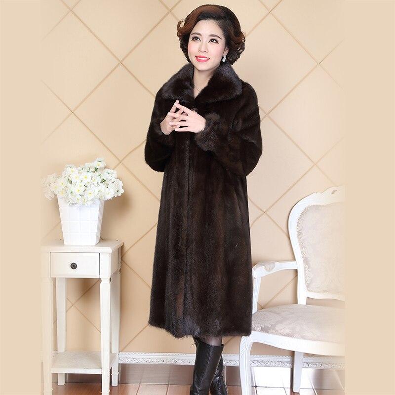 Nerazzurri Real Piel de visón abrigo para Mujeres de China Turn-down Collar largo de damas de lujo Natural ruso abrigos de visón Plus tamaño 5XL 6XL