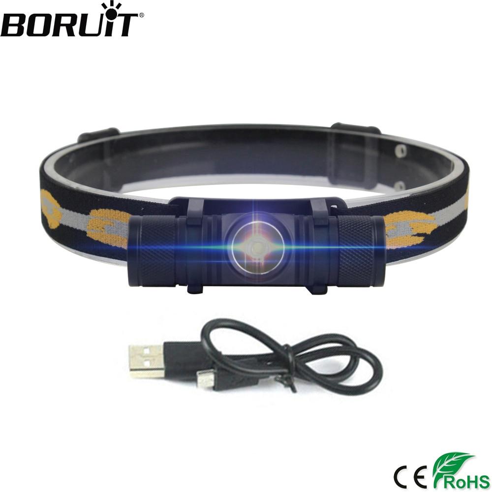 BORUiT D10 LED Headlamp High Power XM-L2 Headlight 18650 Recharheable Head Torch Waterproof Camping Fishing Flashlight