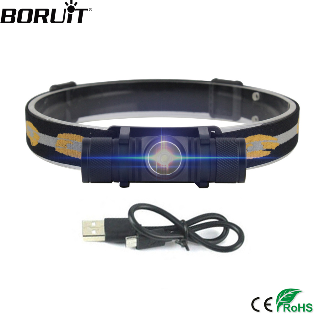 BORUiT D10 XM-L2 LED Mini Headlamp High Power Headlight 18650 Recharheable Head Torch Waterproof Camping Fishing Flashlight