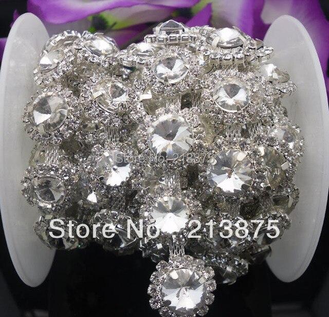 Free shipping 1 Yard 12mm  10mm Clear Crystal glass rhinestone close silver  chain claw trim 6a559fbc8e73