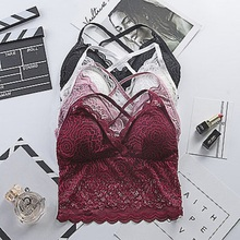 Sexy Lace Tank Women Top Crochet Basic Knitwear Party Tops Sleeveless With Padded Bra Strap Crop Camis