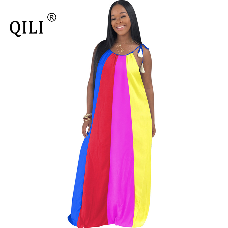 QILI Women Sleeveless Loose Dress African Indie Folk Vintage Long Dresses Striped Print Casual Fat mom Plus Size Dress s-3xl